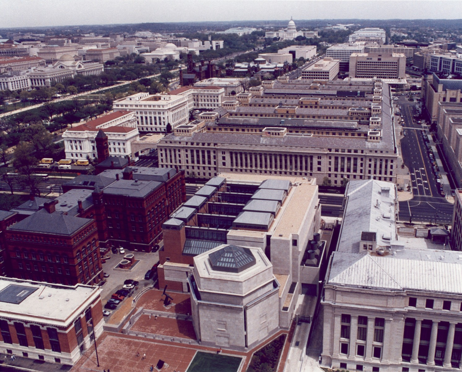Aerial view of the U.S. Holocaust Memorial Museum looking from 15th Street in the direction of the U.S. Capitol.