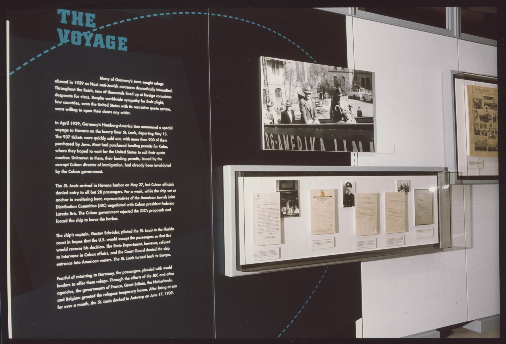 "One segment of the special exhibition ""Voyage of the St. Louis"" at the U.S. Holocaust Memorial Museum.  The ""Voyage of the St. Louis"" exhibition was on display in the Gonda Education Center from April 11 to September 6, 1999."