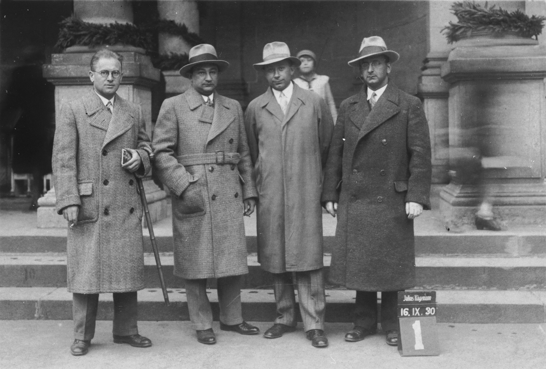Portrait of four Jewish physicians in Czechoslovakia.  Dr. Yaakov Mendler is second from the right.