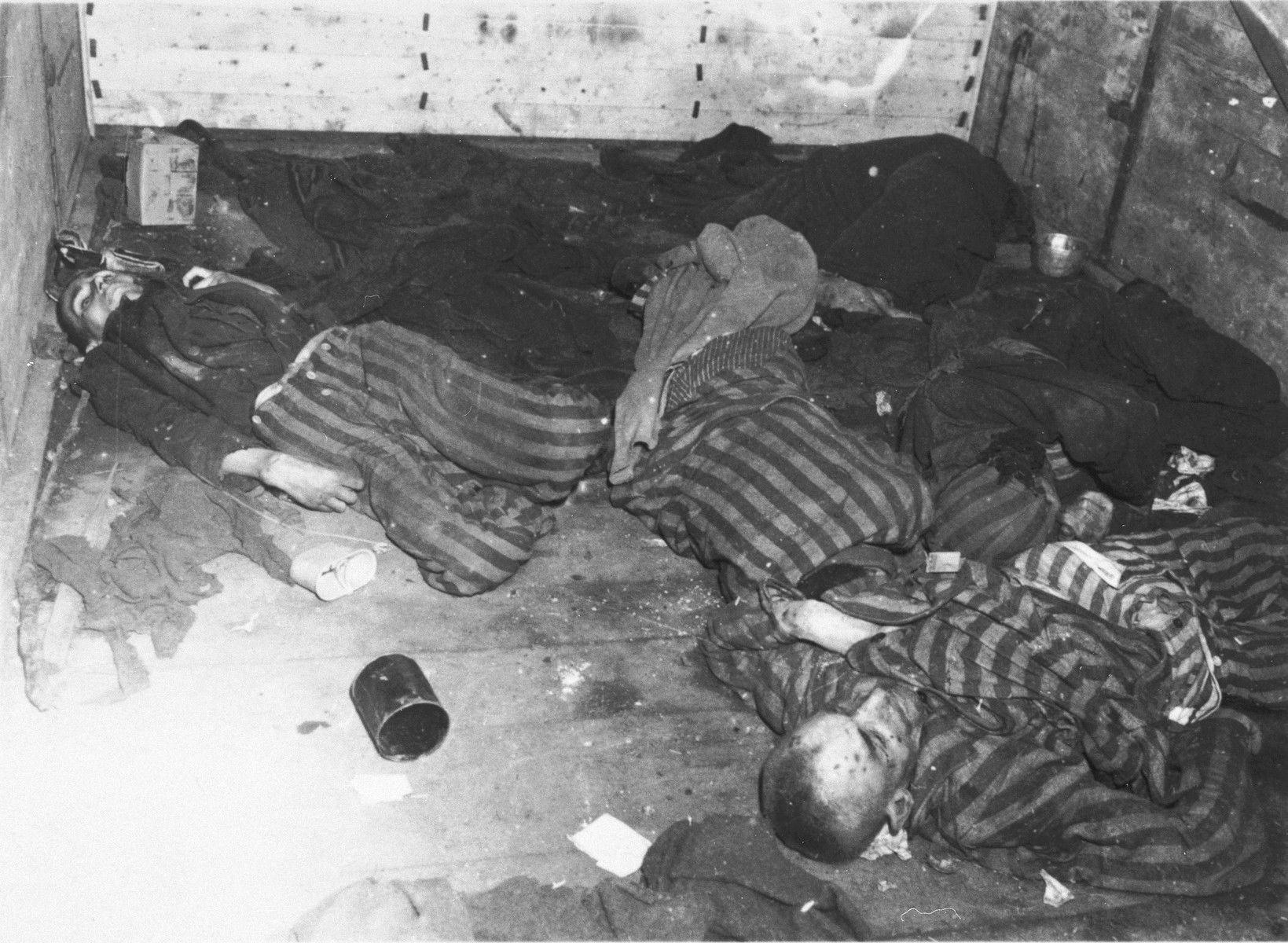 The bodies of former concentration camp prisoners lie in a railcar in Schwandorf.