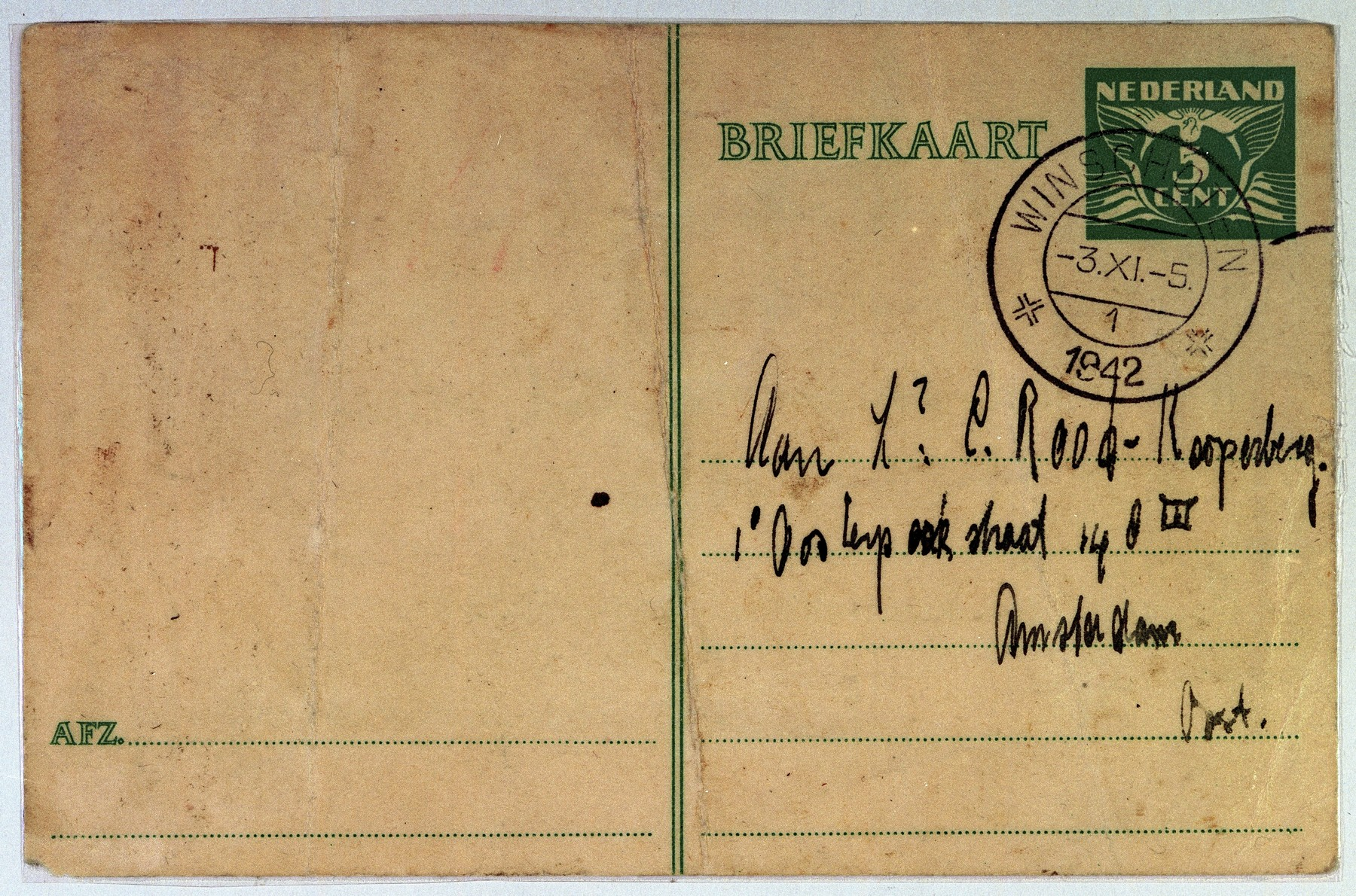 "Postcard written from Coenraad Rood to his wife Elisabeth shortly from the deportation train from the Westerbork camp.  He writes, ""My love!  I kept going despite trying everything. I cannot wait for you. Keep up your strength; be healthy and strong, I'll see you soon. I'll come back. Regards to all, kiss mother, Jo, and Lien for me. I kiss you a hundred thousand times."""