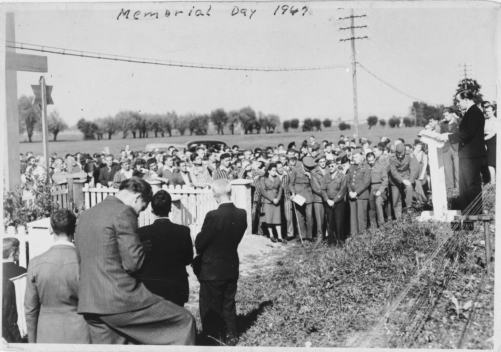 Jewish displaced persons gather for the dedication of a memorial at the site of the Pocking concentration camp.