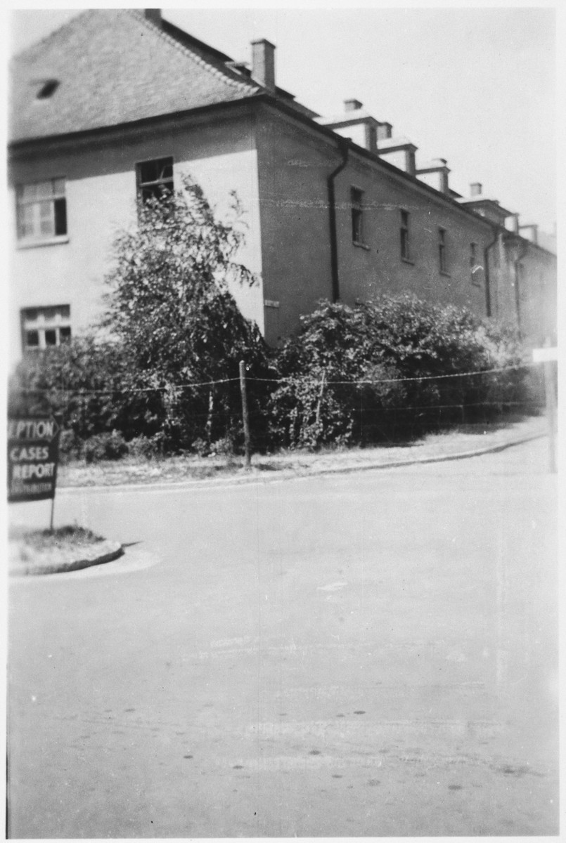 View of a building in the Bergen-Belsen concentration camp after its liberation.