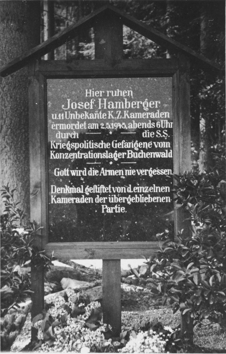 Memorial plaque marking the spot where Josef Hamberger was shot and killed one hour before liberation.  Hamberger, a German Jew, had served as a recorder in Kittlitztreben, a subcamp of Gross Rosen.  He was in charge of keeping the records of roll-calls. On February 5, he was evacuated from Gross Rosen and sent on a death march in the direction of Buchenwald.  He was shot and killed by the SS on May 2, 1945 at 6:00pm, only one hour before liberation.
