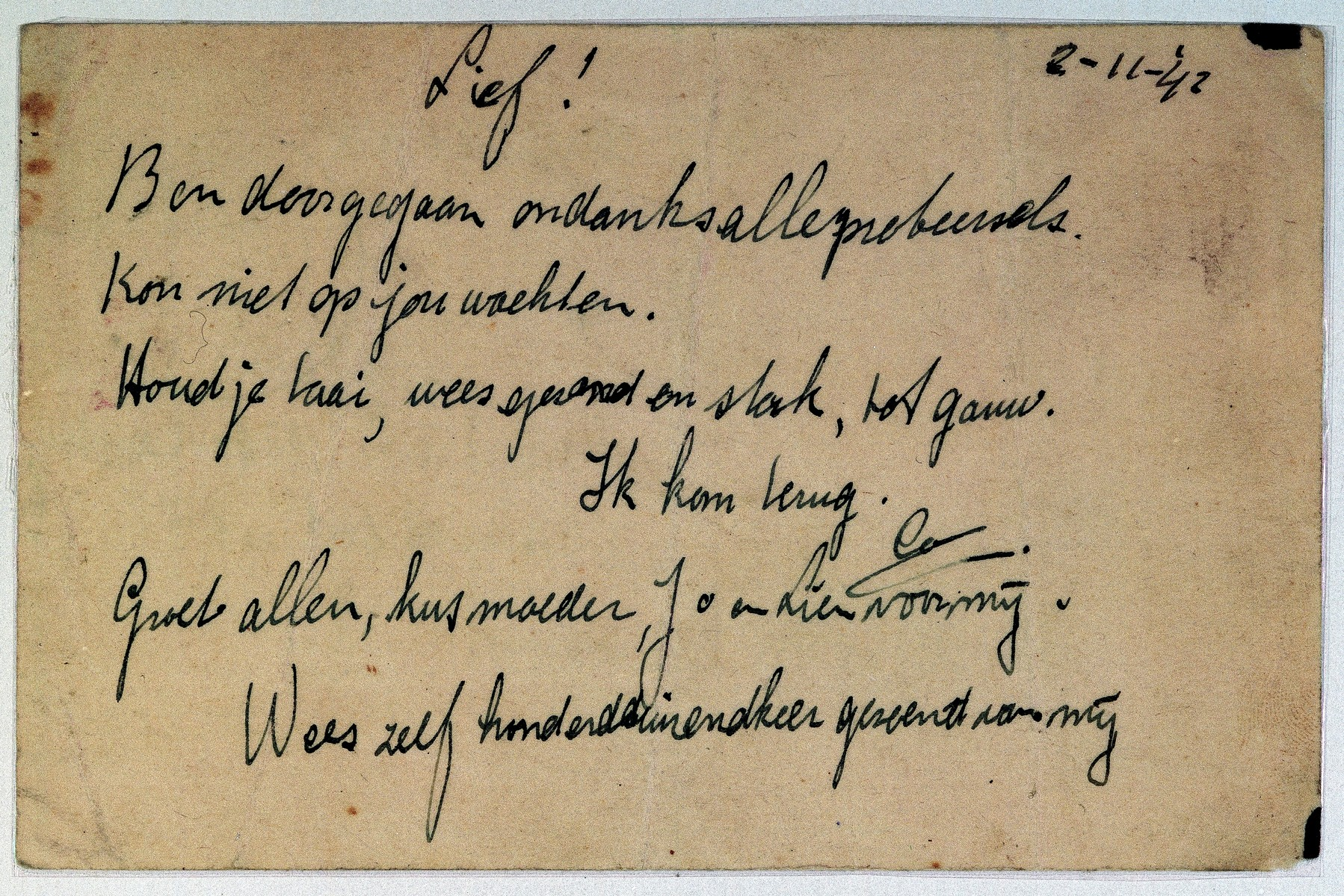 """Verso of a postcard written from Coenraad Rood to his wife Elisabeth shortly from the deportation train from the Westerbork camp.  He writes, """"I went. Even though I tried, I could not wait for you.  Keep up your strength; be healthy and strong.  See you soon.  I'll come back.  Regards to all; kiss mother for me.  I kiss you a hundred times."""""""