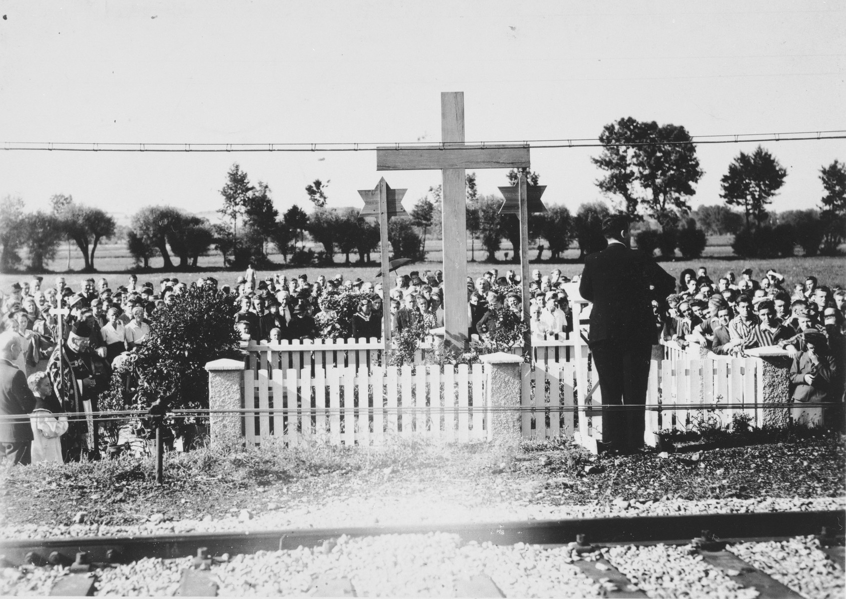 Dedication of a memorial at the site of the Pocking concentration camp.