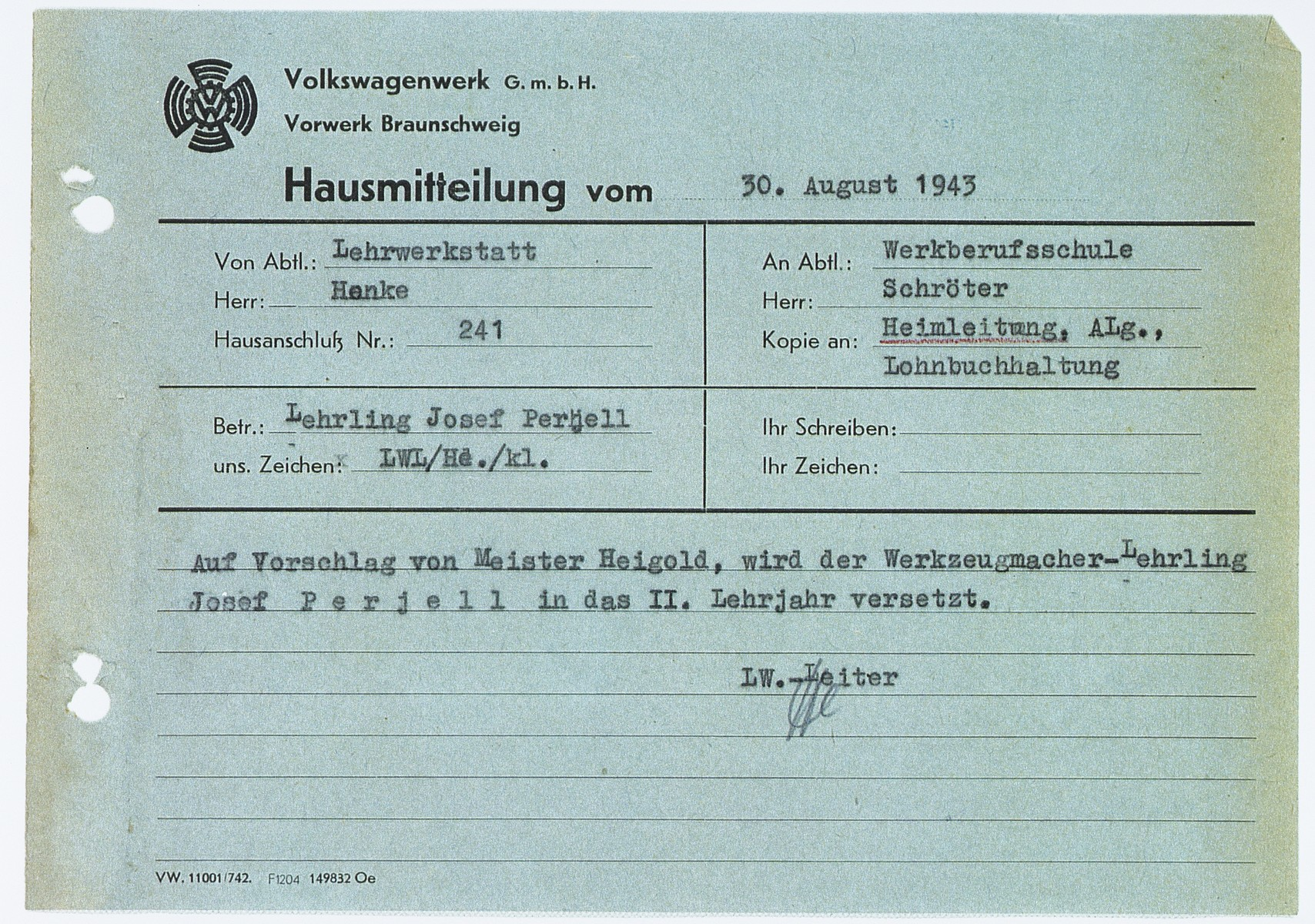 Memorandum from the supervisor of Josef Perjell (Solly Perel) stating that Perjell completed the second year of his apprenticeship at the Volkswagen factory.