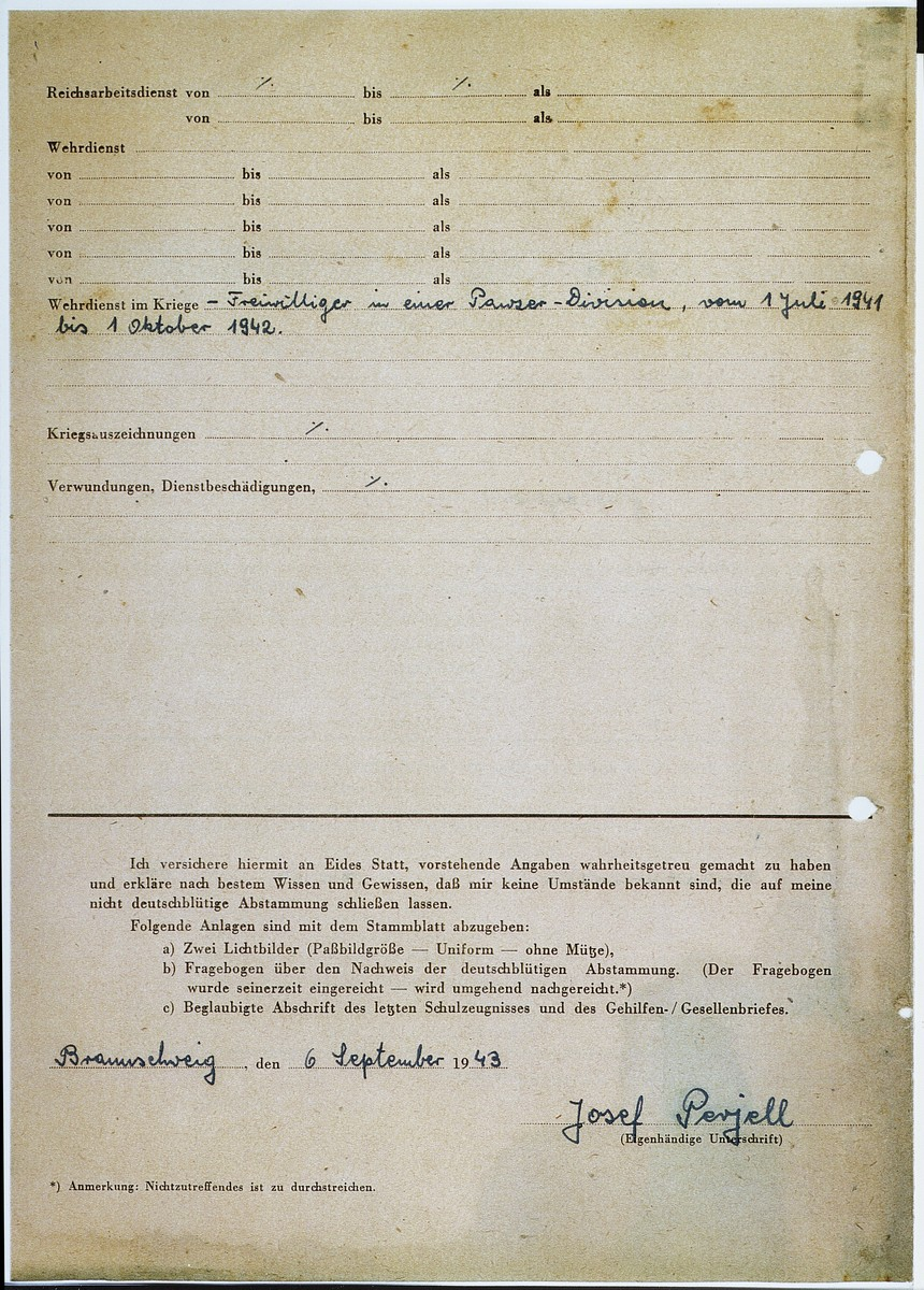 Page 2 of a personal information sheet for Josef Perjell (Solly Perel) while he was posing as a member of the Hitler Youth.