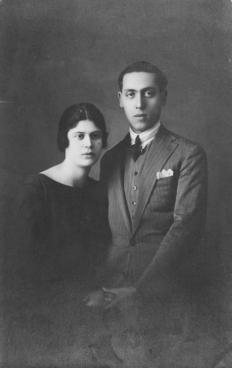 Engagement portrait of Moise (Maurice) and Buena (Beatrice) Frances in Salonika.