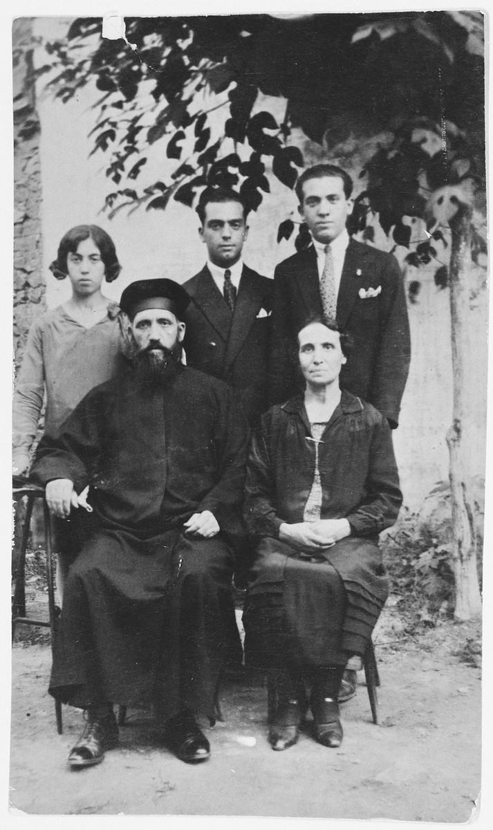 Studio portrait of the Frances family in Salonika.