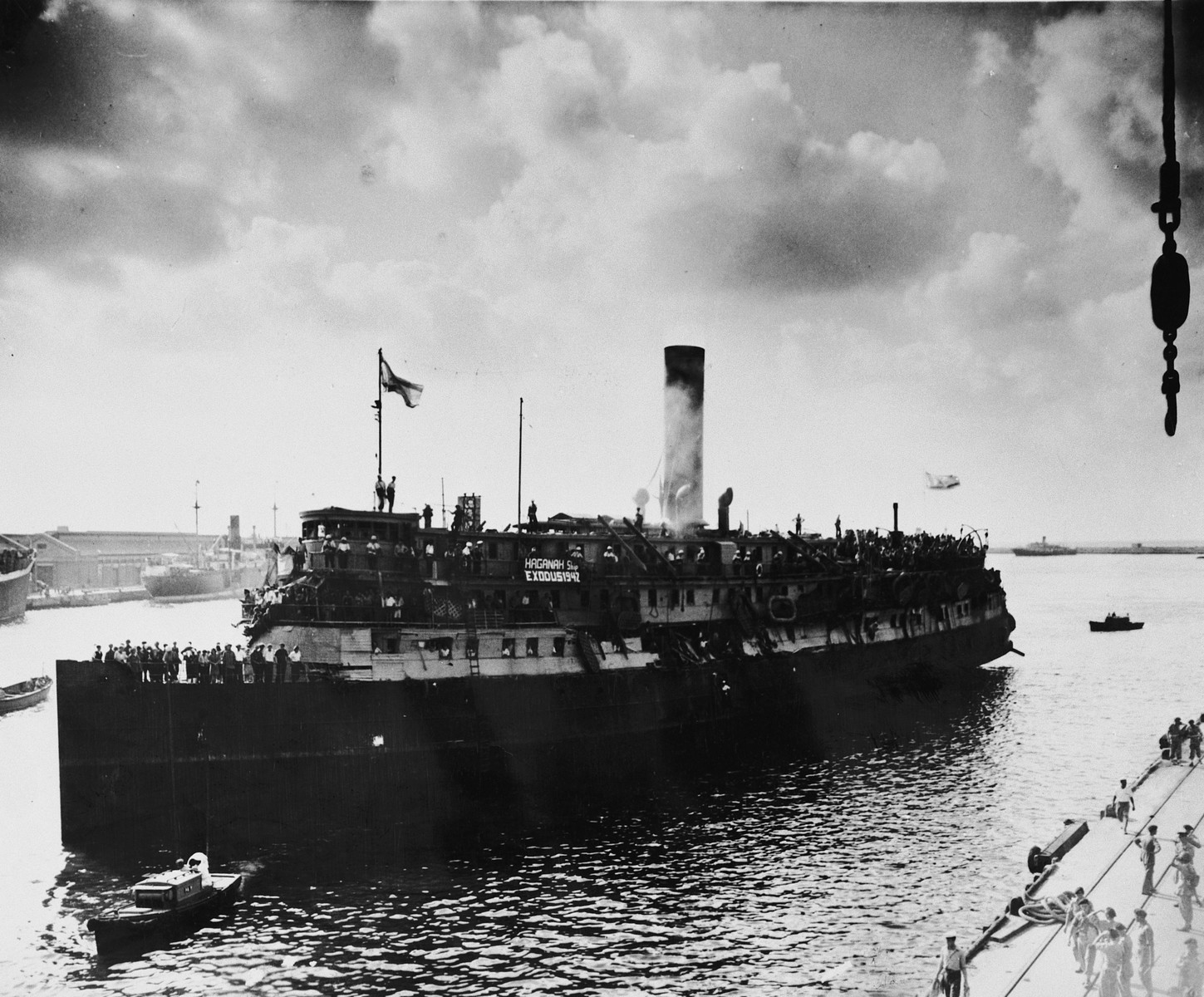 View of the Exodus 1947 arriving in Haifa harbor.