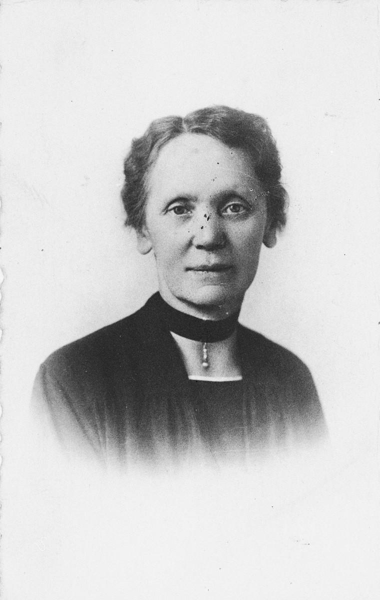 Portrait of Mrs. Kramer, the German-Belgian rescuer who sheltered Michelene Frances.