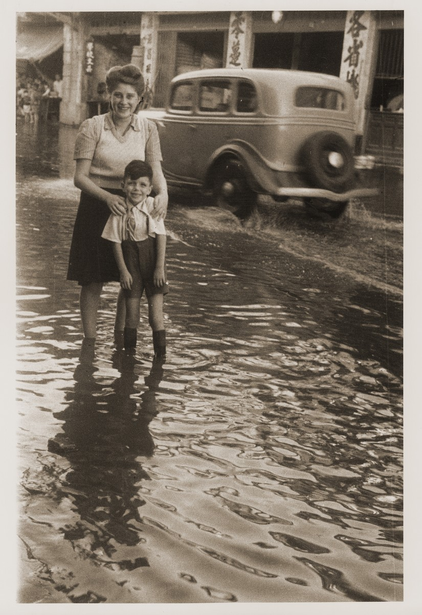 Harry Fiedler and Julla Goldstaub on the flooded Tongshan Road.