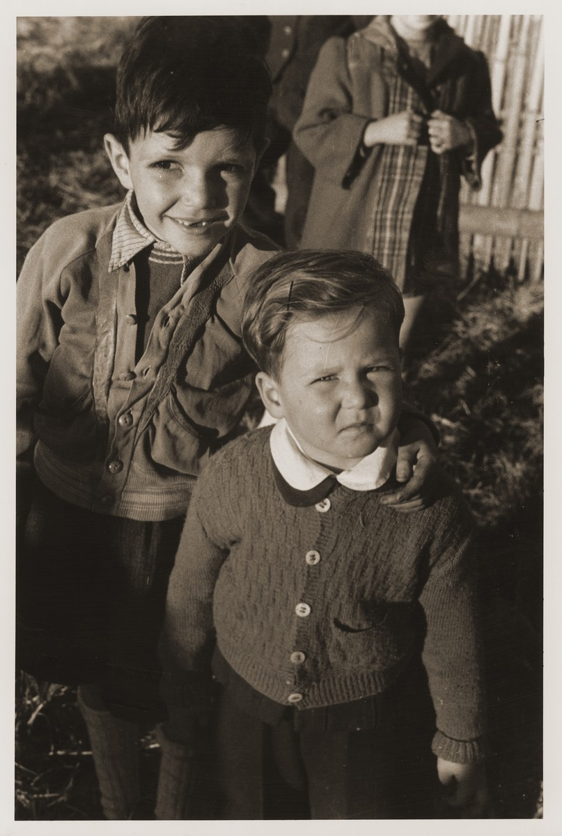 Two Jewish refugee children on Tongshan Road in Shanghai.  Pictured at the left is Harry Fiedler.
