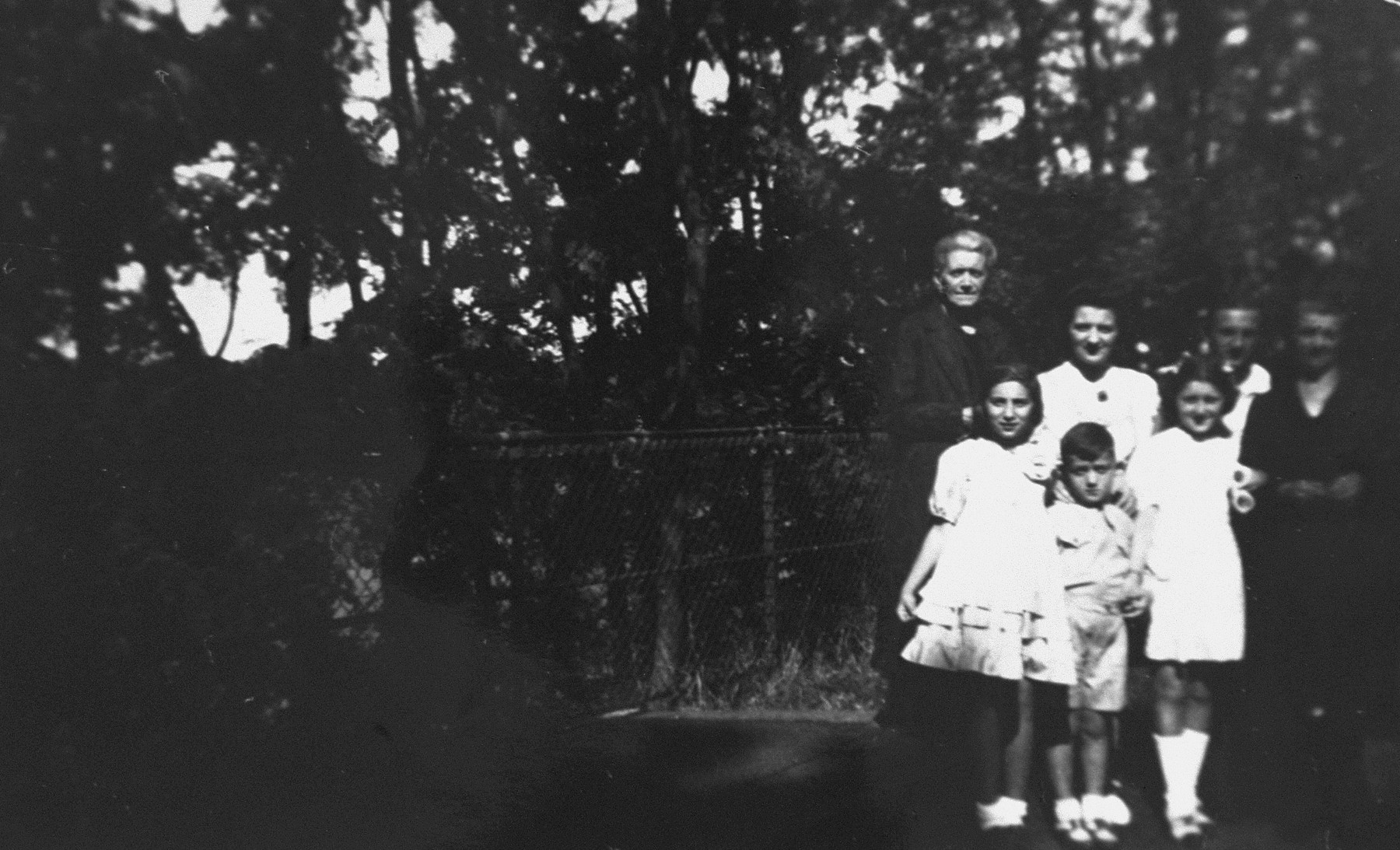 Chana Fajga Pesses poses with her children and members of the Leroux family, who are hiding them, during a visit to their home in Brou.  Pictured in the front row, from left to right, are: Marcelle Rotleder (another hidden child), Albert Pesses and Berthe Pesses.  In the back row, from left to right, are: Mme. Tricheux, Chana Fajga Pesses, Edith Leroux and Mme. Leroux.