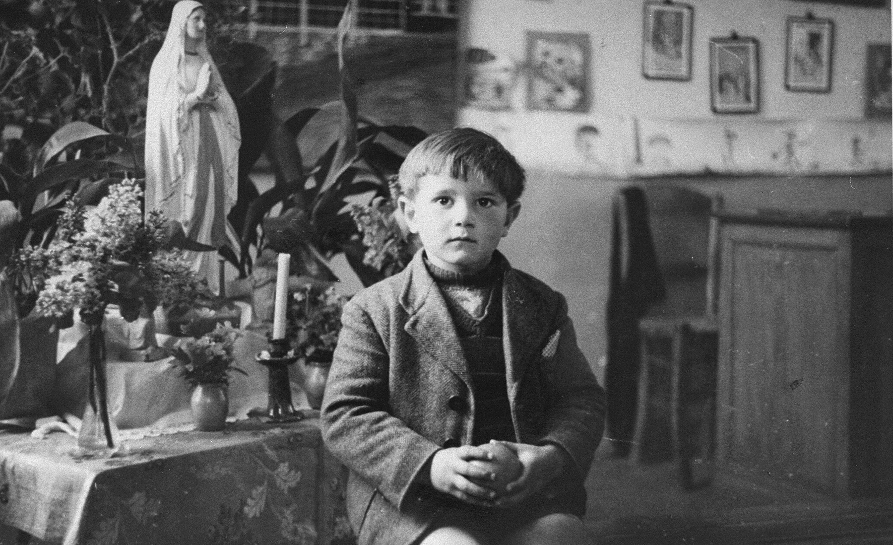 Portrait of Felix Zylbersztajn, a Jewish boy in hiding at a Belgian convent in the village of Oulter.
