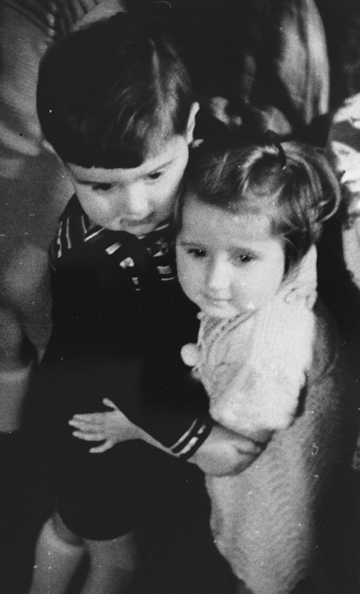 Portrait of two children at Tante Anni's Kindergarten, a Jewish preschool in Berlin.    Pictured are Evelyn (Evy) Goldstein and her friend, Michael. Michael and his family probably were deported soon afterwards.