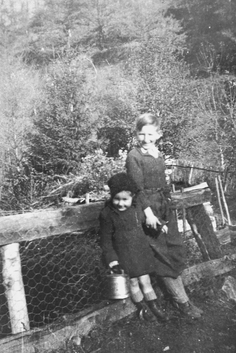 A Jewish brother and sister who are living in hiding in Boissy-Saint-Leger, France, pose outside near a wire mesh fence.  Pictured are Michel and Olga Zilberstein.