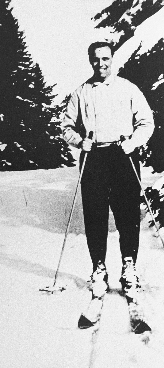 Portrait of John Henry Weidner skiing in the Pyrenees.  He was in the mountains making arrangements to smuggle people out of France.