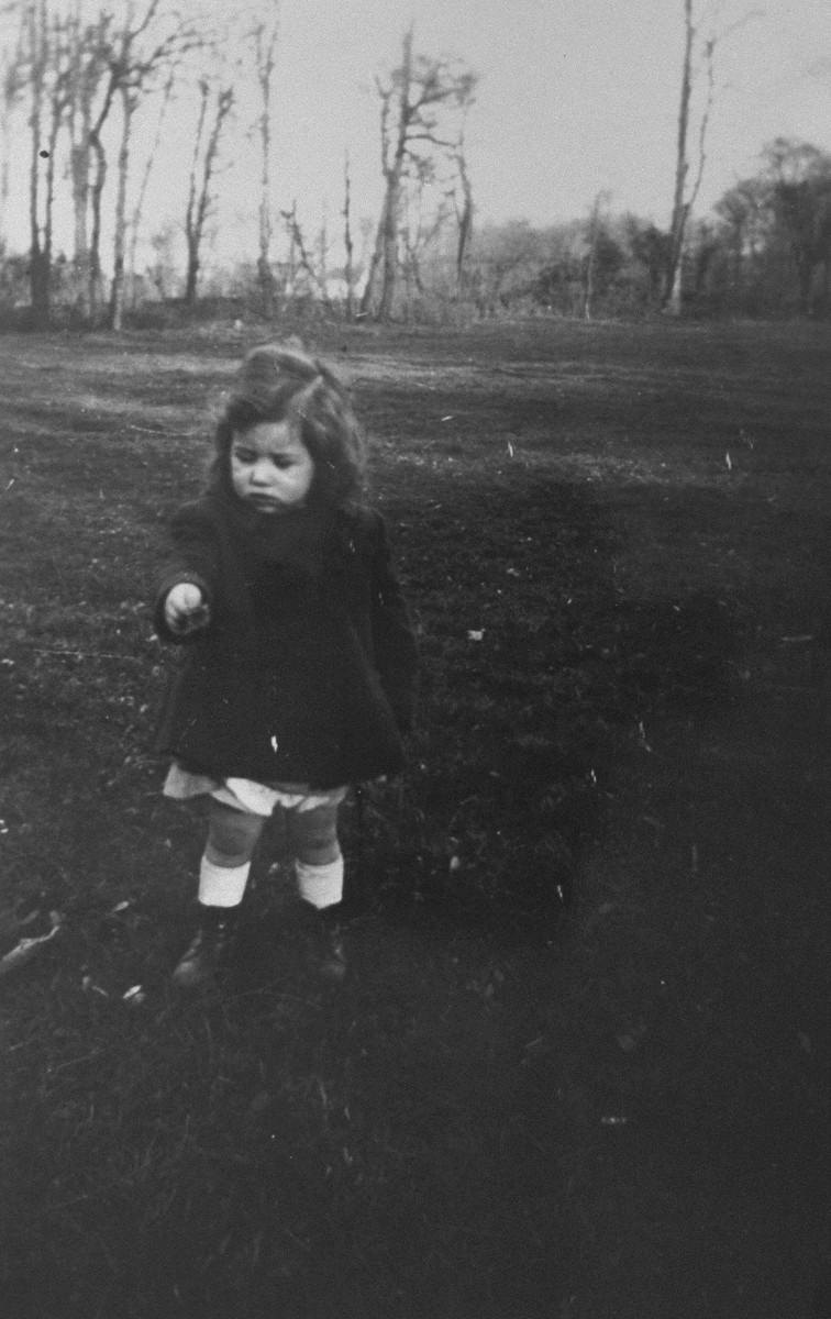 A young Jewish child who is living in hiding in Boissy-Saint-Leger, France, stands outside in a clearing.  Pictured is Olga Zilberstein.