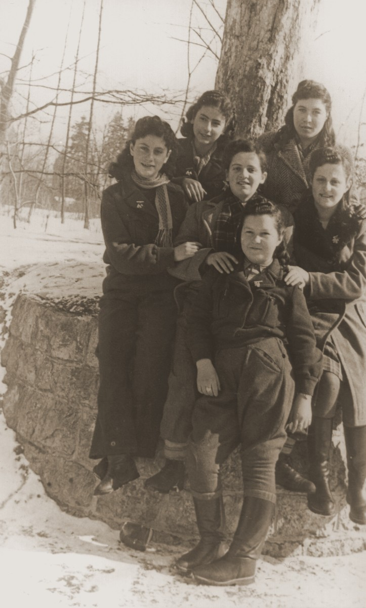 Group portrait of young women in the Bad Reichenhall displaced persons camp.  Rochelle Szklarski is standing first from right in the top row.