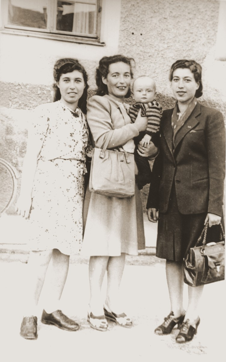 The Skalrski family poses in the Bad Reichenall displaced persons camp.  From left: Rochelle, the donor, her sister, Bella Szklarski Epstein holding her son Joe and Yenta Szklarski.