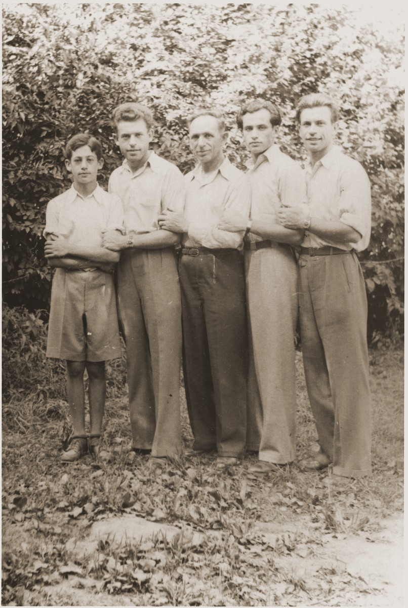 Moshe Yermus, with his sons in an Austrian DP camp after their return from Siberia   Left to right are Leon, Sam, Moshe. Aaron and Nathan.