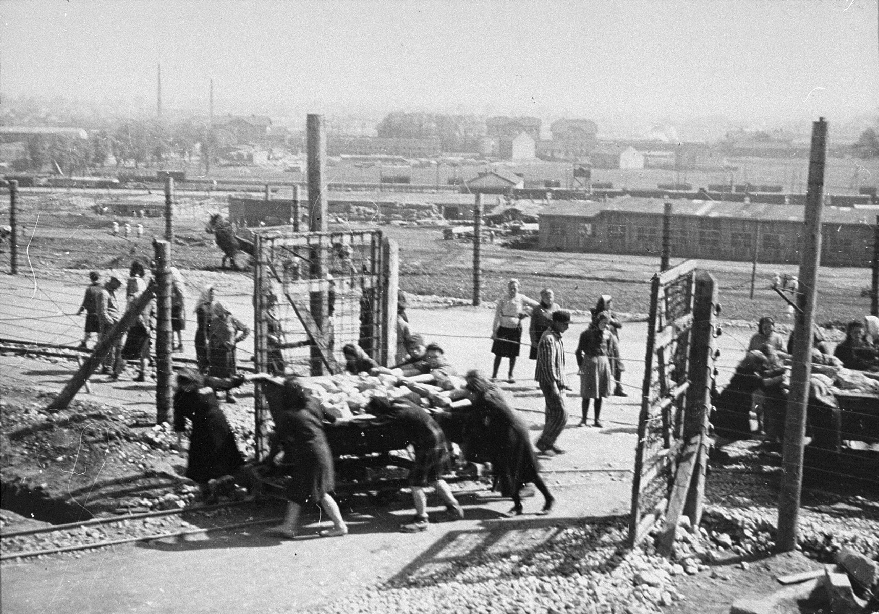 Jewish women at forced labor in Plaszow.