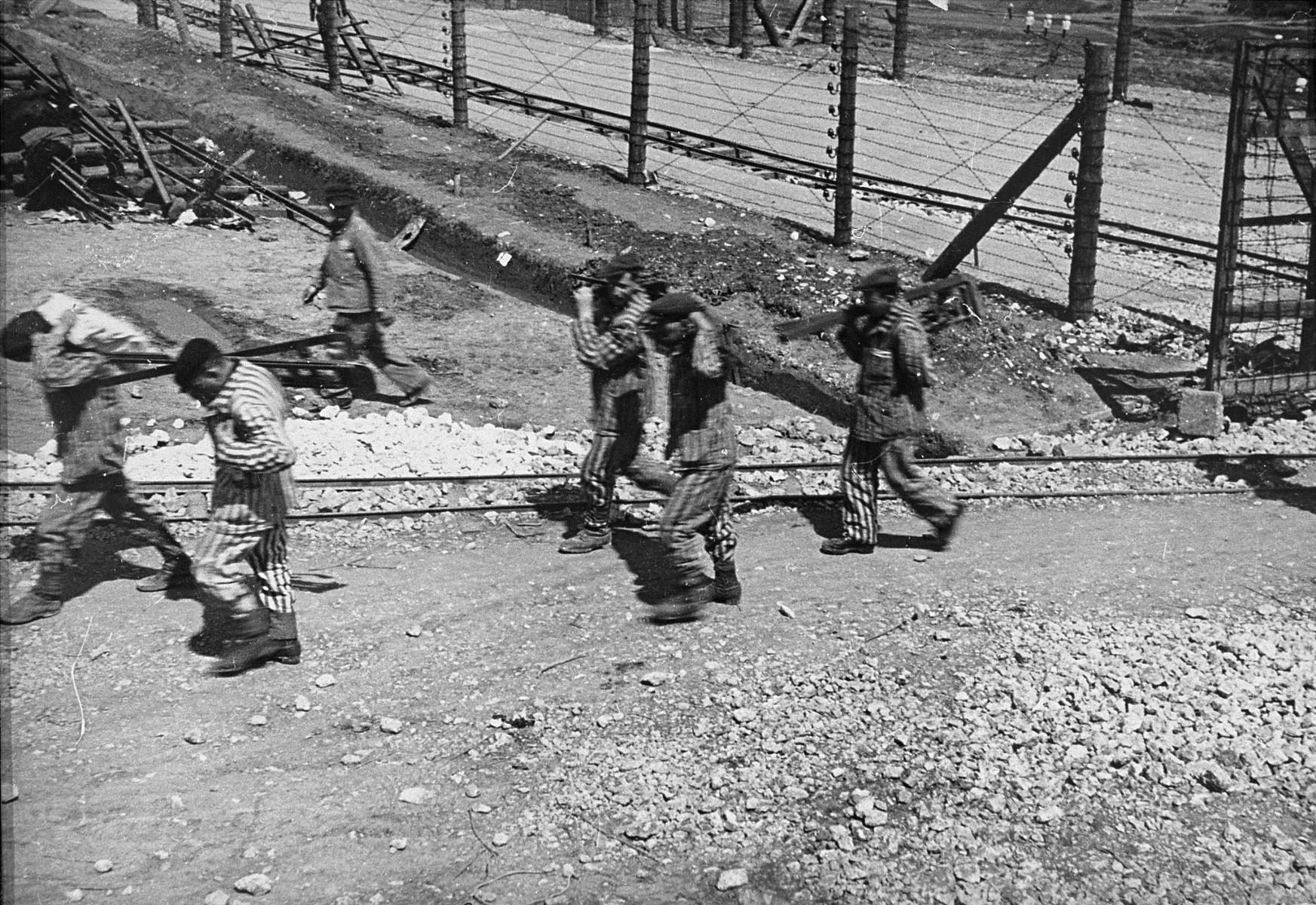 Jewish prisoners in Plaszow at forced labor.
