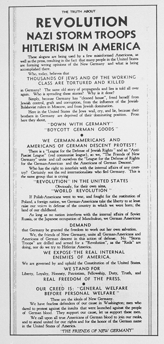 A flier issued by the Friends of the New Germany to counter American anti-Nazi sentiment and defend German-Americans.