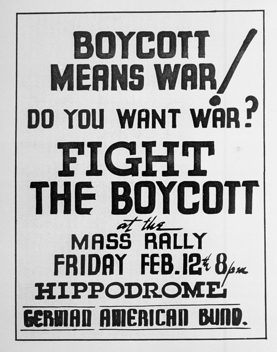 A poster advertising a mass rally sponsored by the German-American Bund to protest the boycott of German goods.