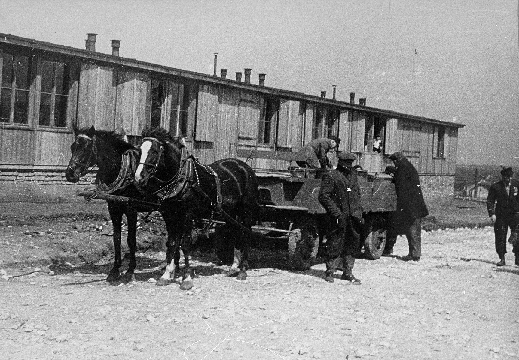 Jewish prisoners in Plaszow unload food containers.
