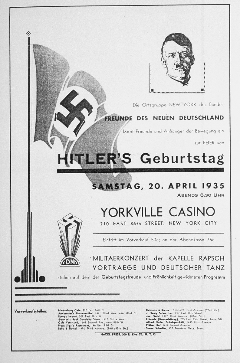 A poster advertising an upcoming evening celebration in honor of Hitler's birthday in New York City sponsored by the Friends of the New Germany