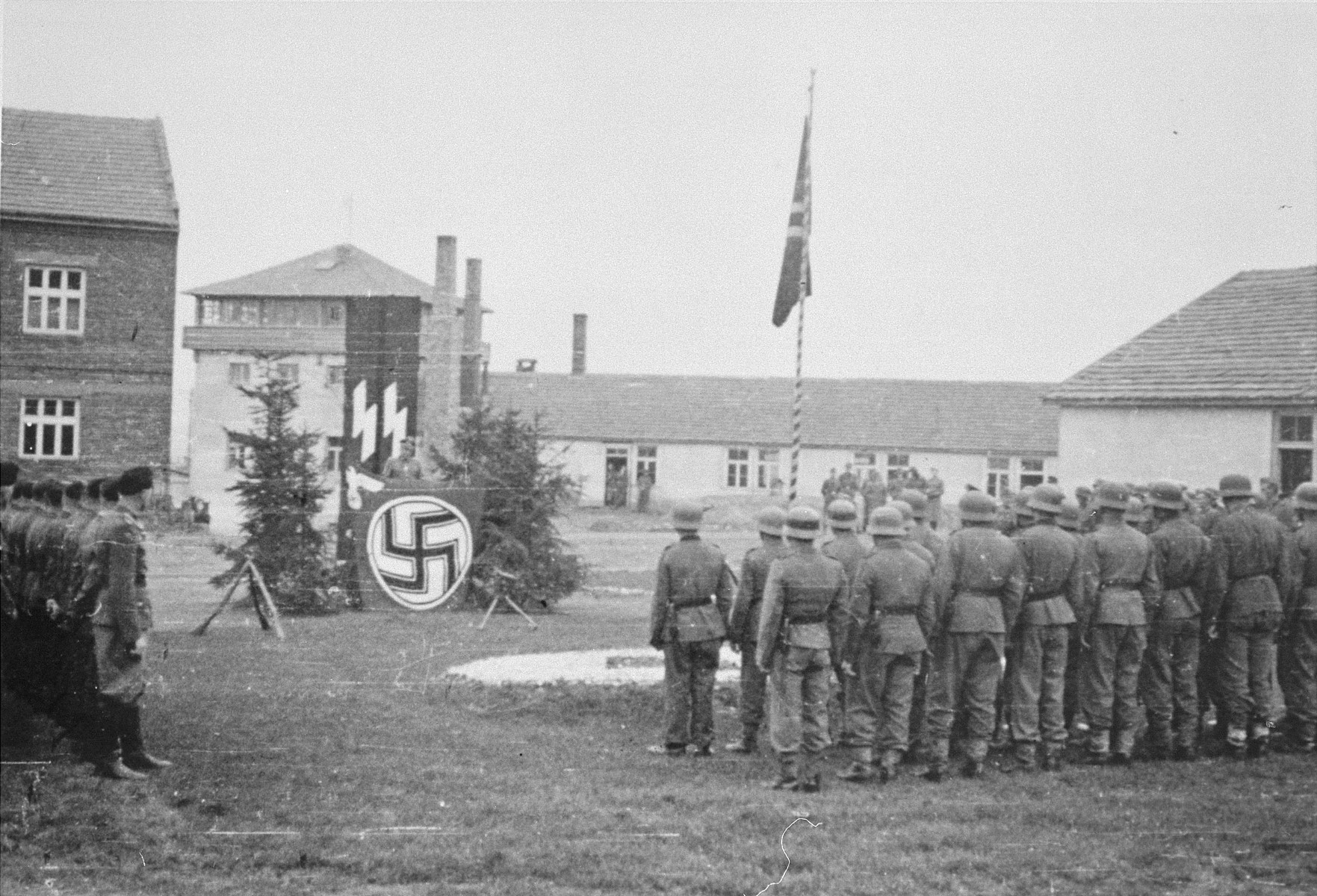 Commandant Amon Goeth delivers a speech to the SS staff in the Plaszow concentration camp.