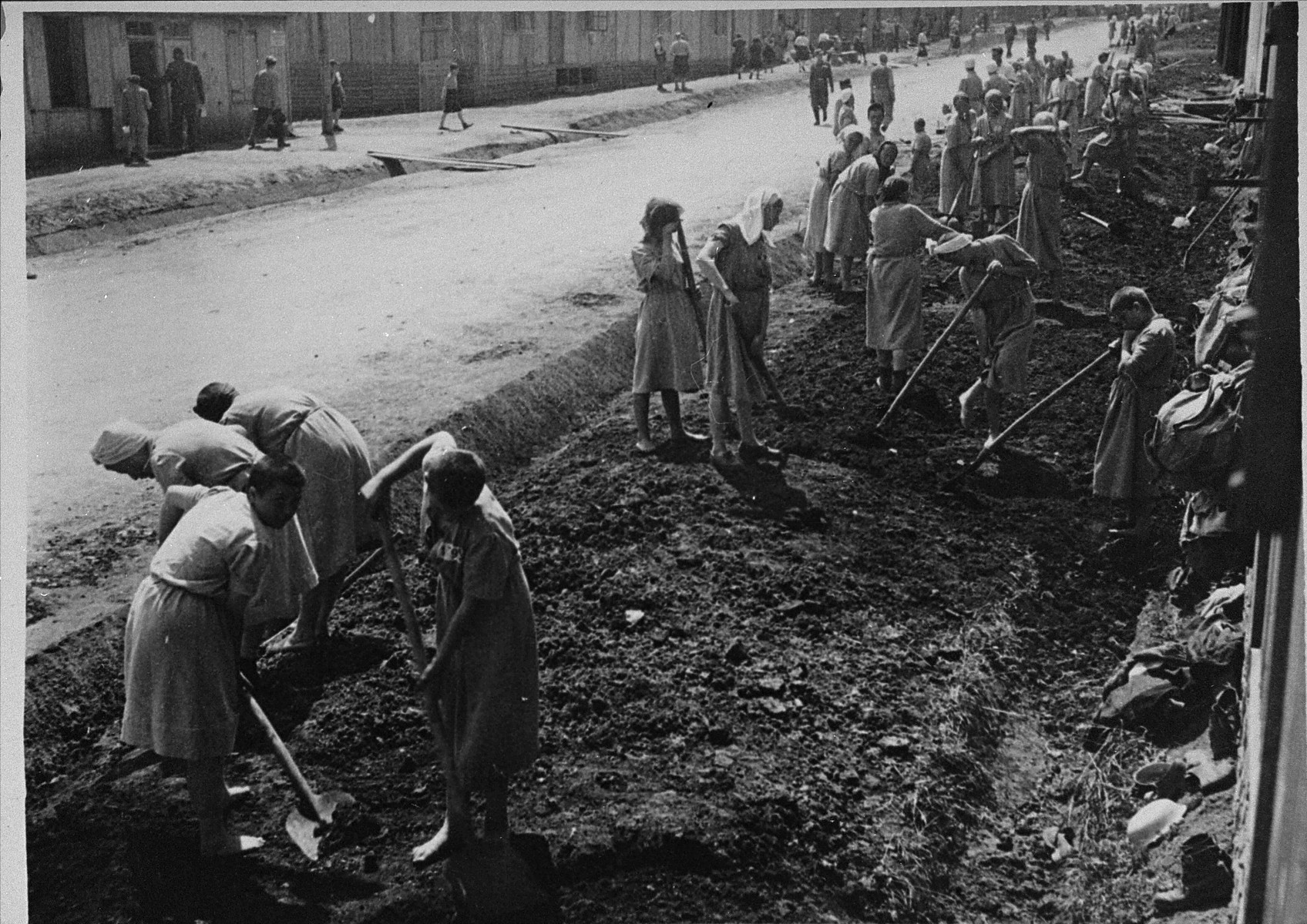 Jewish women at forced labor in the Plaszow labor camp.