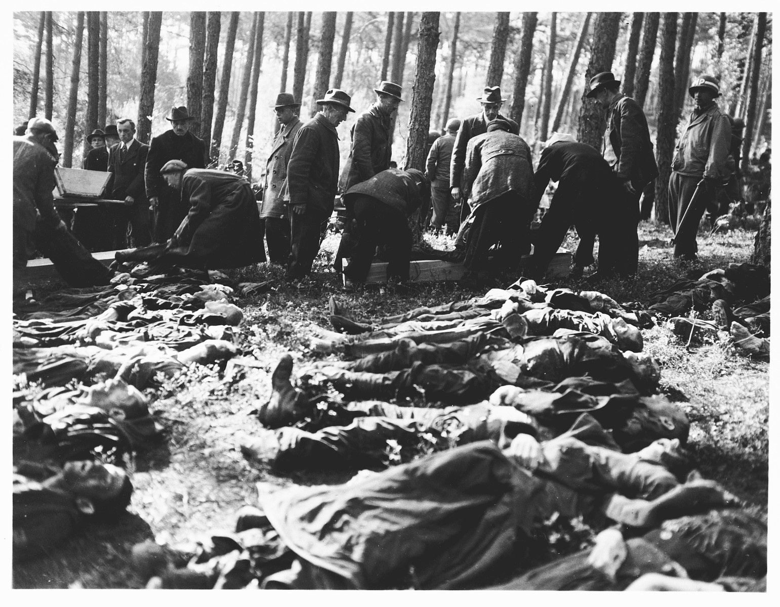 Under the supervision of American soldiers, German civilians from Neunburg vorm Wald place corpses into coffins for transportation to the town cemetery where they will be properly buried.    The victims were Polish, Hungarian, and Russian Jews shot near Neunburg while on a death march from Flossenbuerg.