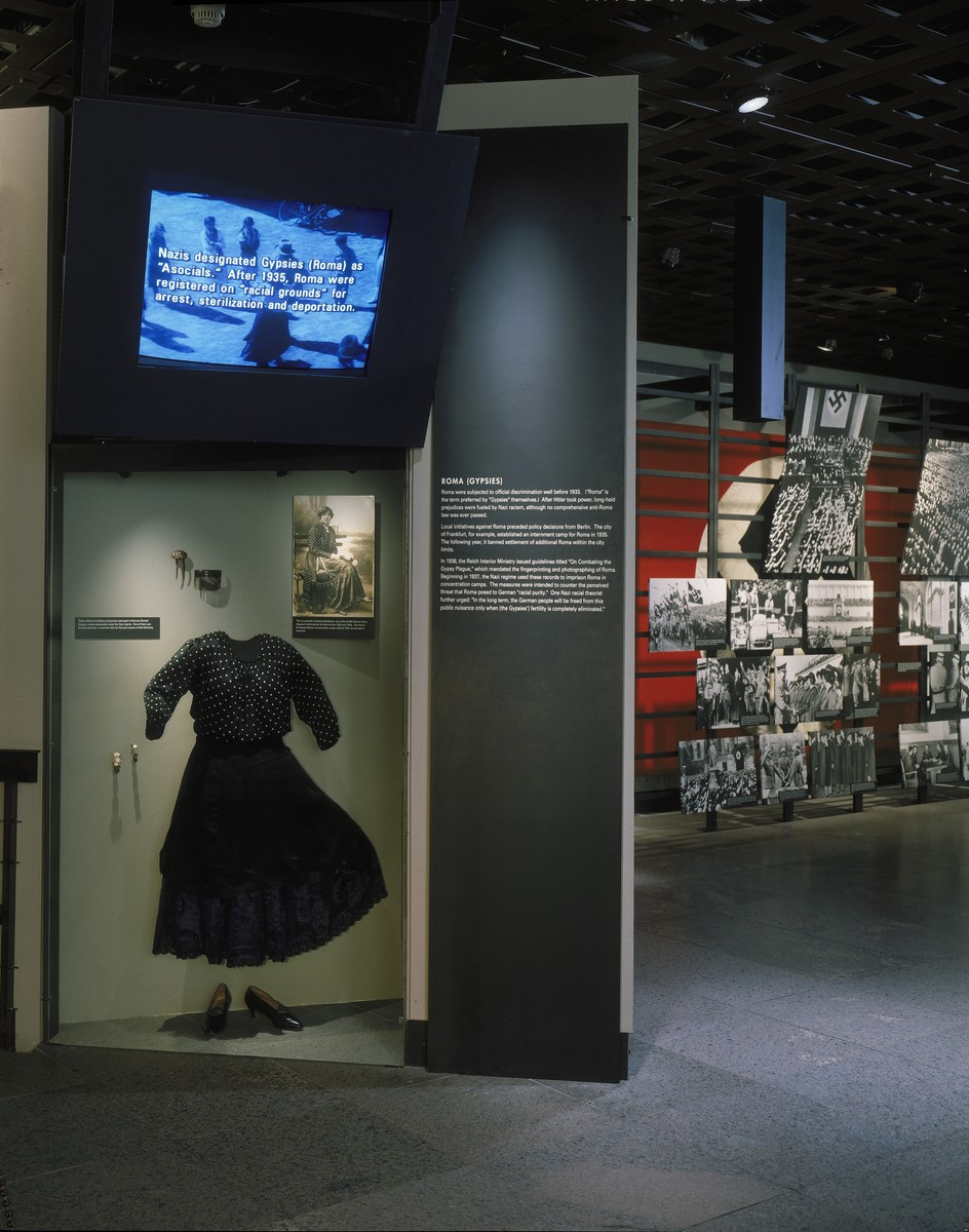 View of the Roma (Gypsy) display featuring a dress from Czechoslovakia, on the fourth floor of the permanent exhibition in the U.S. Holocaust Memorial Museum.