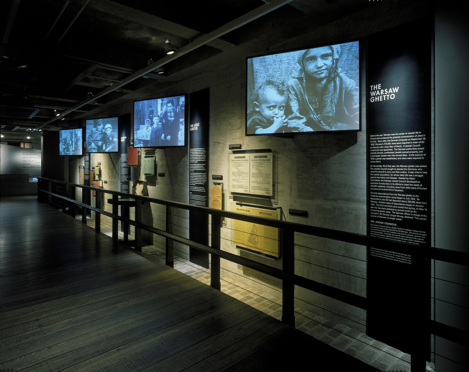 View of a section of the ghetto segment on the third floor of the permanent exhibition at the  U.S. Holocaust Memorial Museum.