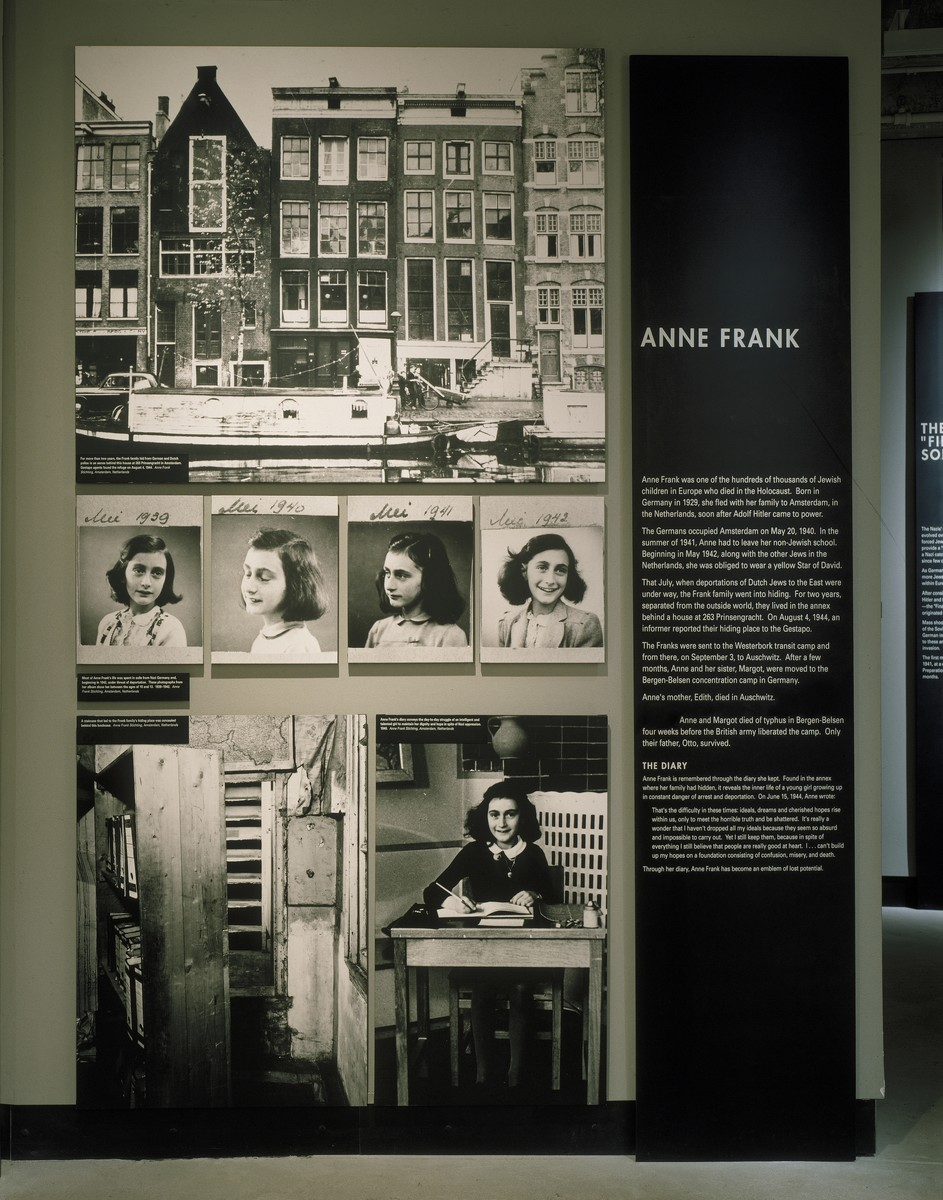 Segment on Anne Frank on the third floor of the permanent exhibition in the U.S. Holocaust Memorial Museum.