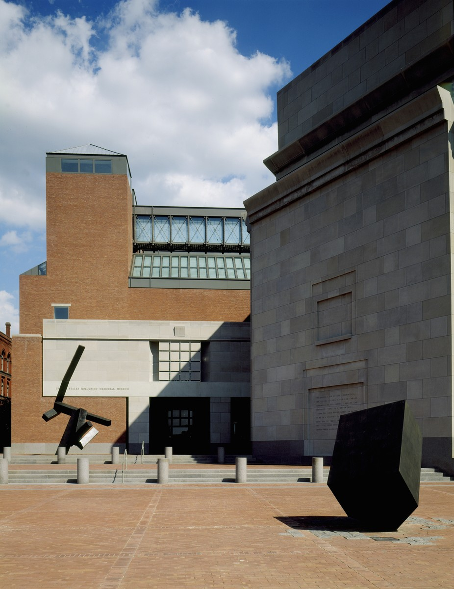 """Sculpture by Joel Shapiro entitled """"Loss and Regeneration,"""" situated on the Eisenhower Plaza of the U.S. Holocaust Memorial Museum."""