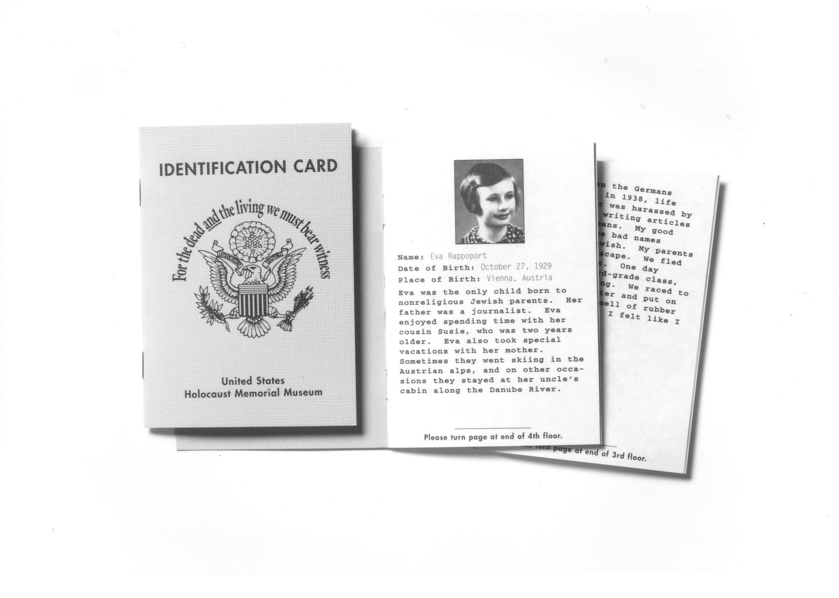 U.S. Holocaust Memorial Museum identification card for Eva Rappoport.