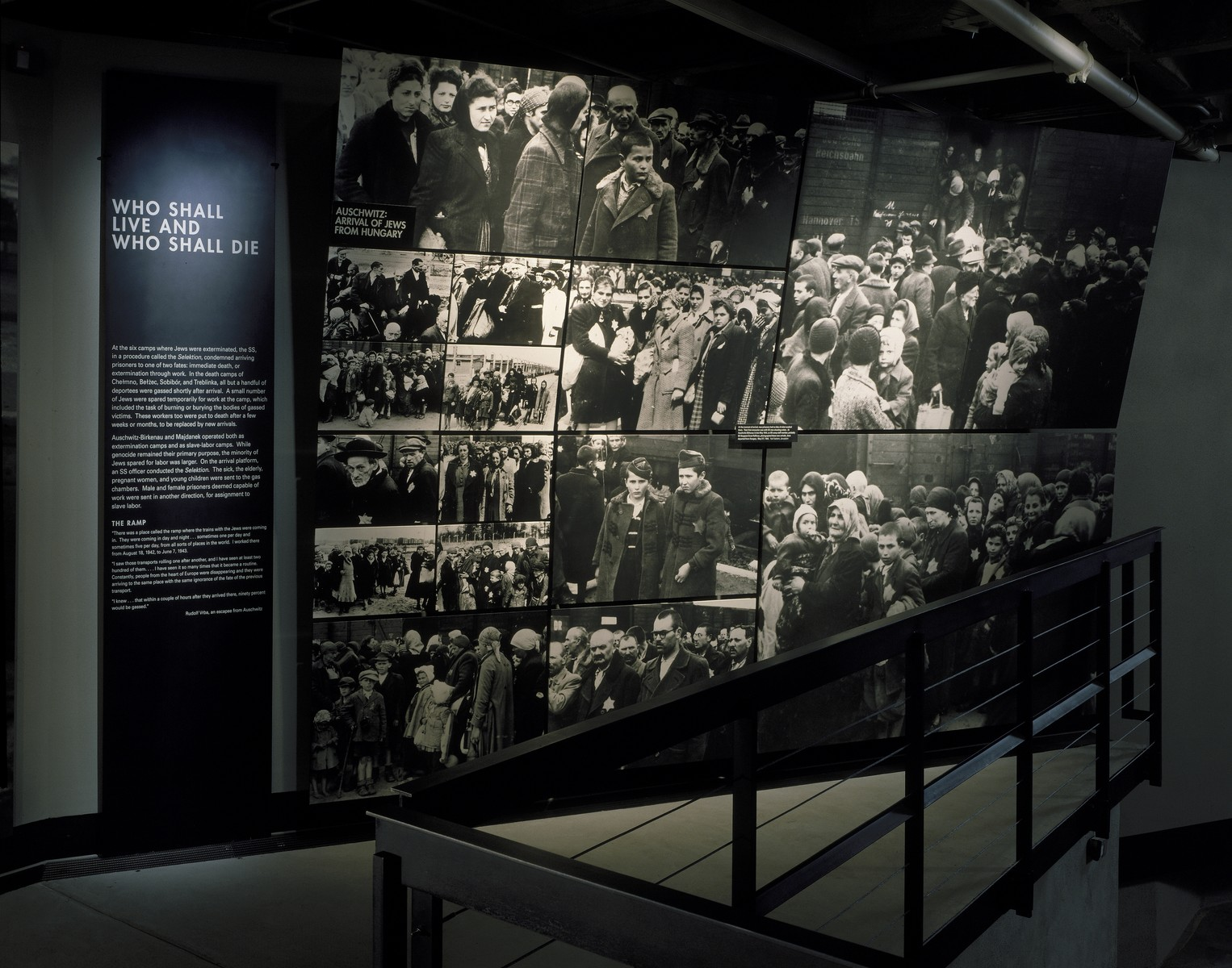 """View of the """"Who Shall Live and Who Shall Die"""" segment on the third floor of the permanent exhibition at the U.S. Holocaust Memorial Museum.  The photo mural consists of a series of photographs depicting the arrival and selection of a transport of Jews from Carpathian Ruthenia on the ramp at Auschwitz-Birkenau in the spring of 1944."""
