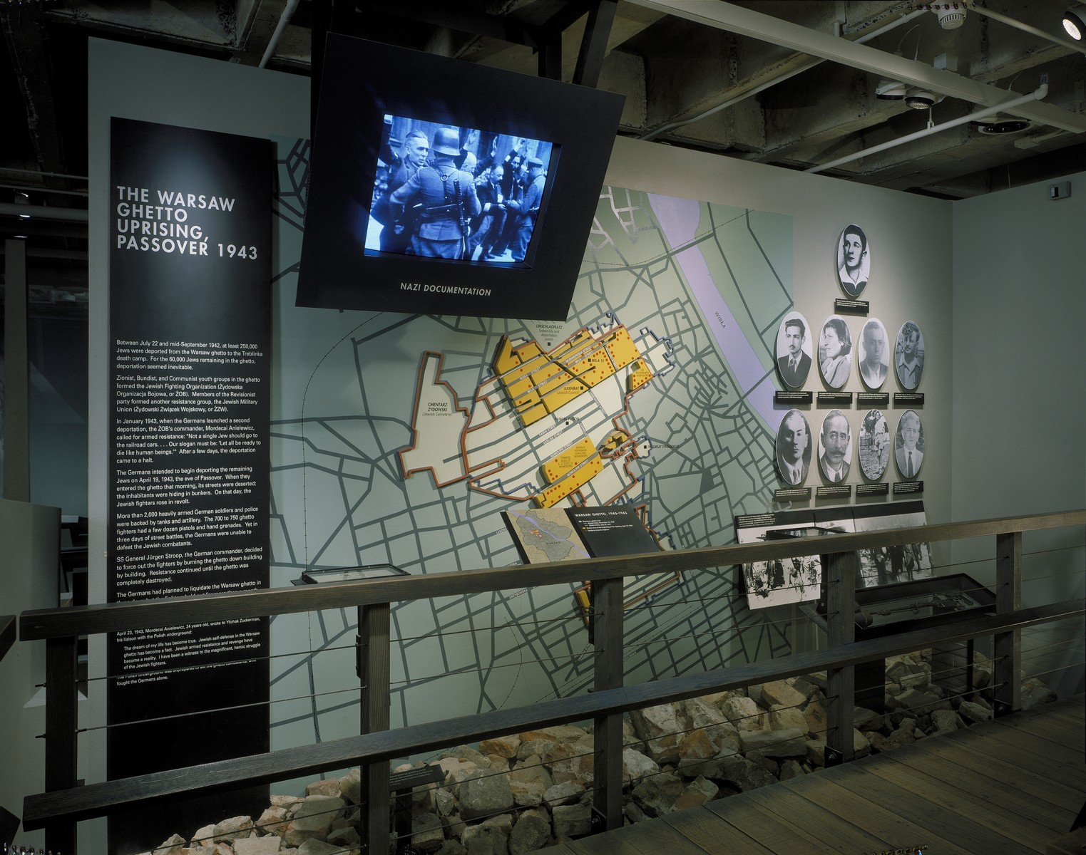 """View of the """"Warsaw Ghetto Uprising"""" segment on the third floor of the permanent exhibition at the U.S. Holocaust Memorial Museum."""