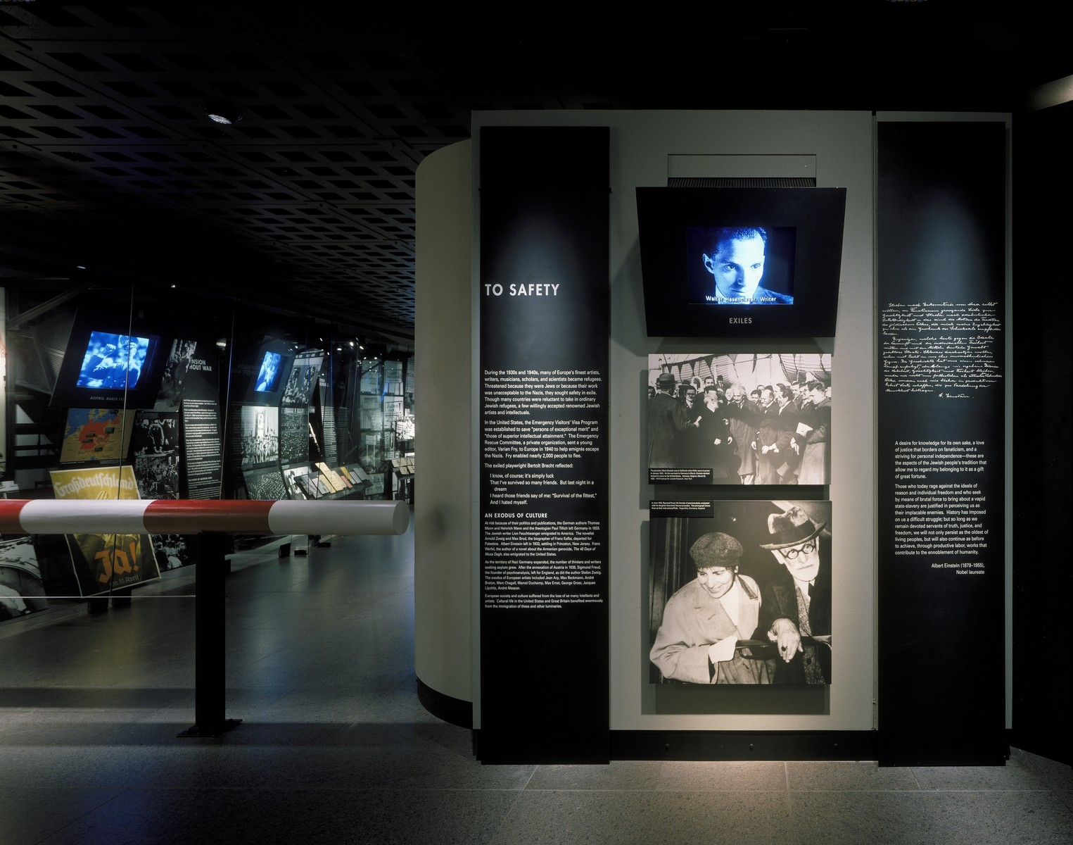 "View of the ""To Safety"" segment on the fourth floor of the permanent exhibition at the U.S. Holocaust Memorial Museum."