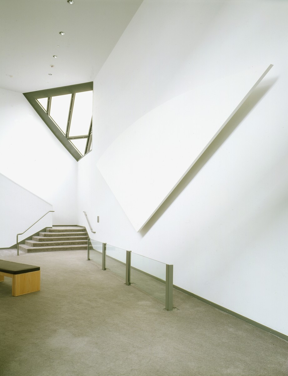 "Wall sculpture entitled ""Memorial"" by Ellsworth Kelly, displayed in the permanent exhibition of the U.S. Holocaust Memorial Museum, in the lounge space between the third and fourth floors.   Pictured here is one painting of four that complete the work."