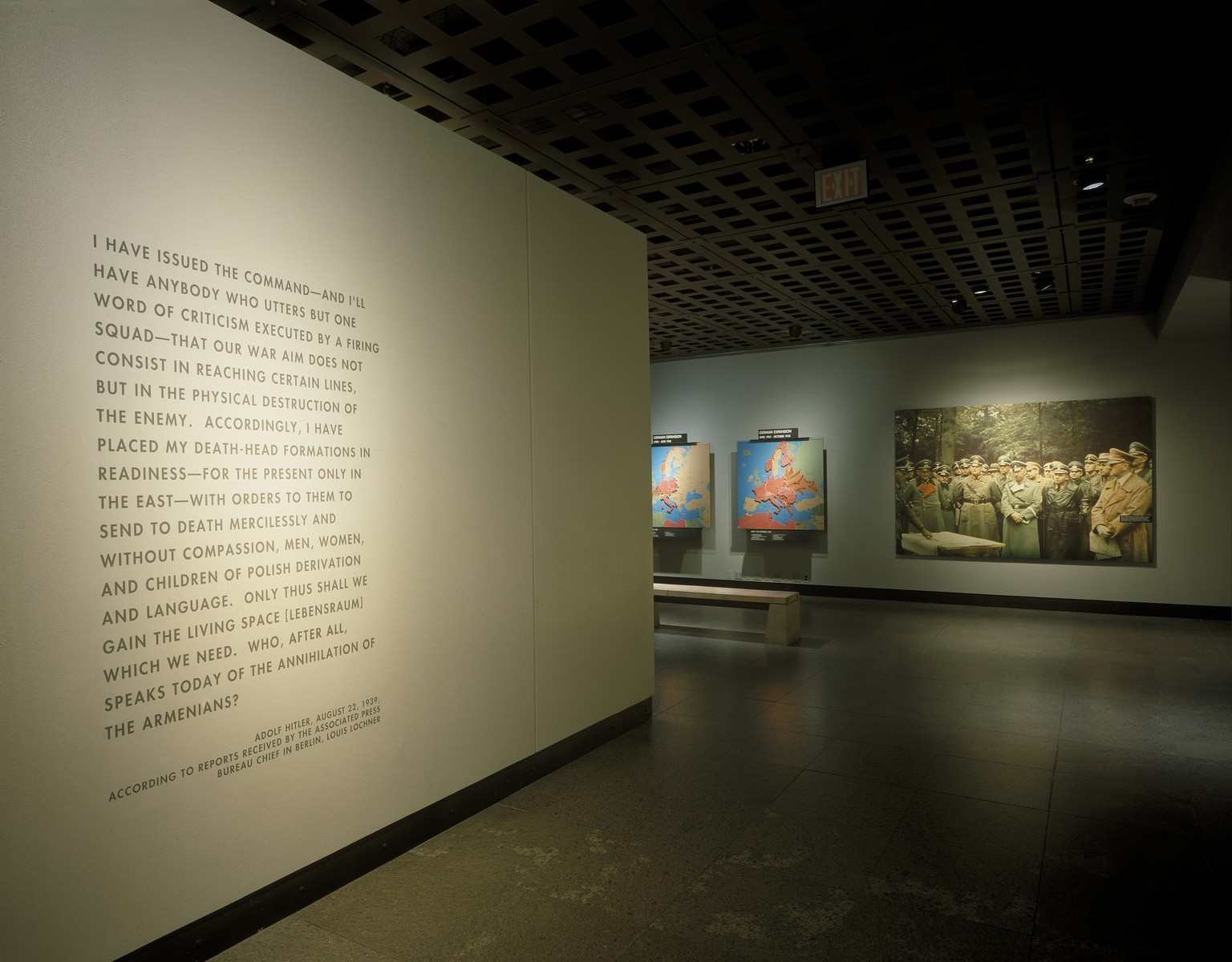 View of the concluding section of fourth floor of the permanent exhibition at the U.S. Holocaust Memorial Museum.  This section features the quote attributed to Adolf Hitler regarding his war aims, maps of the German territorial conquest and a photo mural of Hitler with General Wilhelm Keitel at the Westwall.