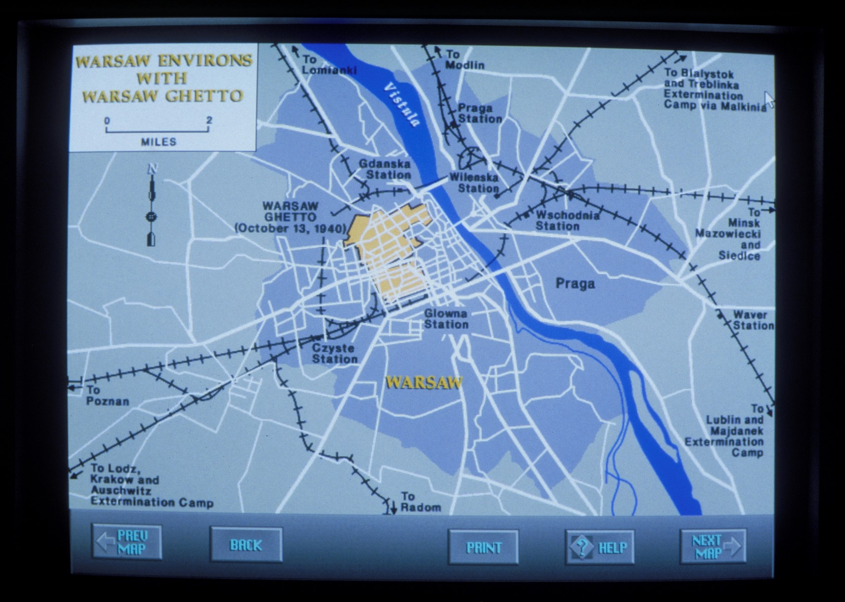 Wexner Learning Center computer monitor displaying a map of the Warsaw ghetto.