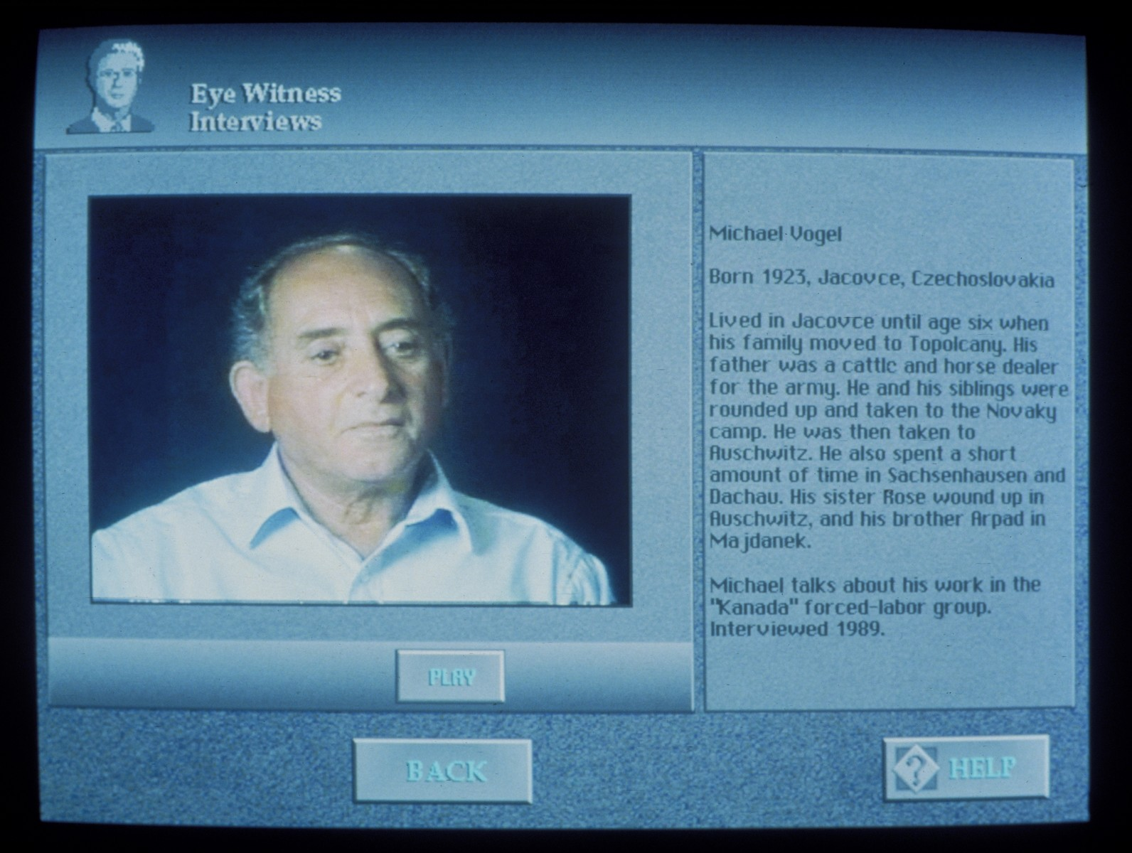 Wexner Learning Center computer monitor displaying an oral history interview with survivor Michael (Miso) Vogel.
