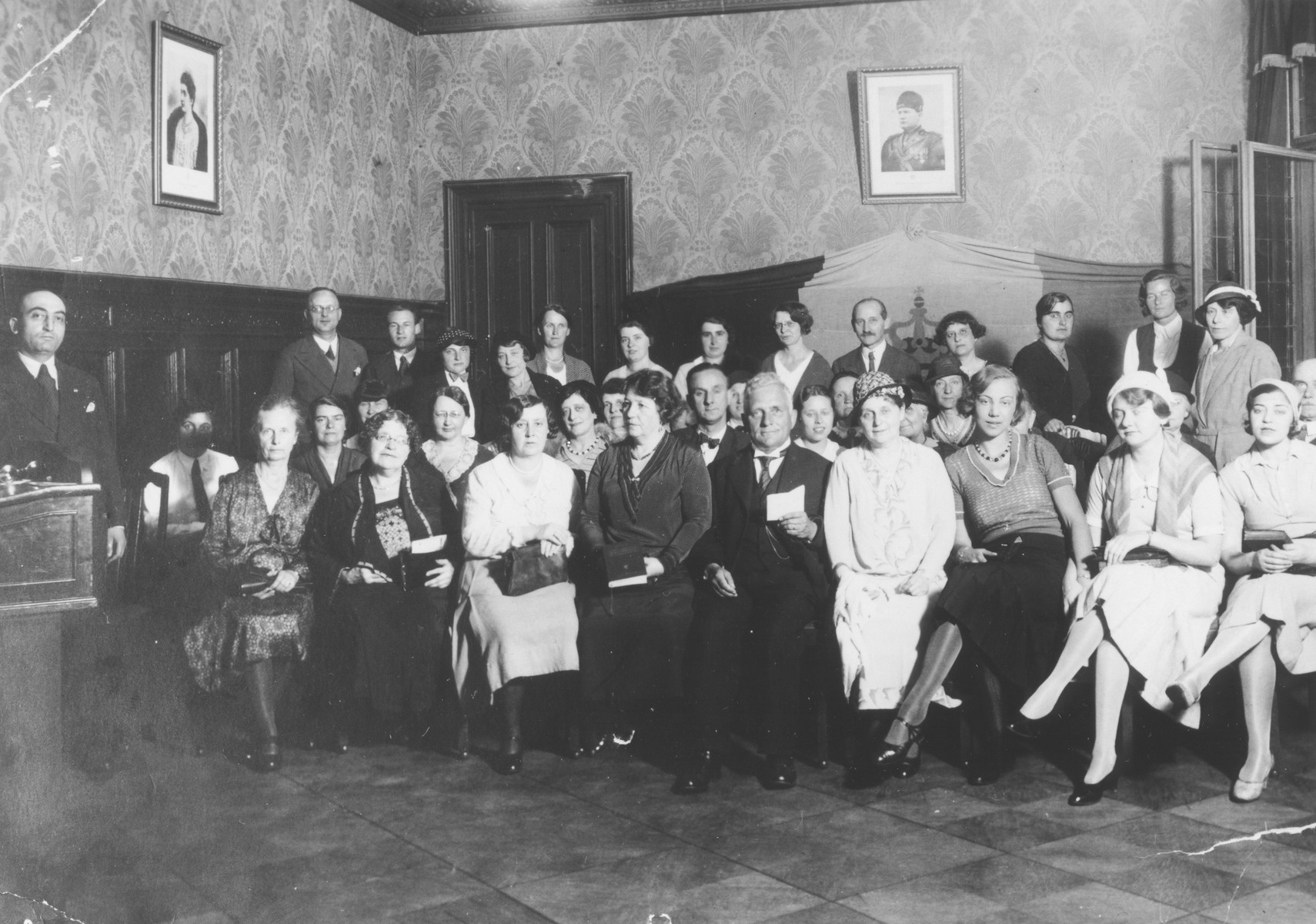 Gathering of a Fascist social club in Berlin.  Gitta Schadur is seated in the front row, on the far right.