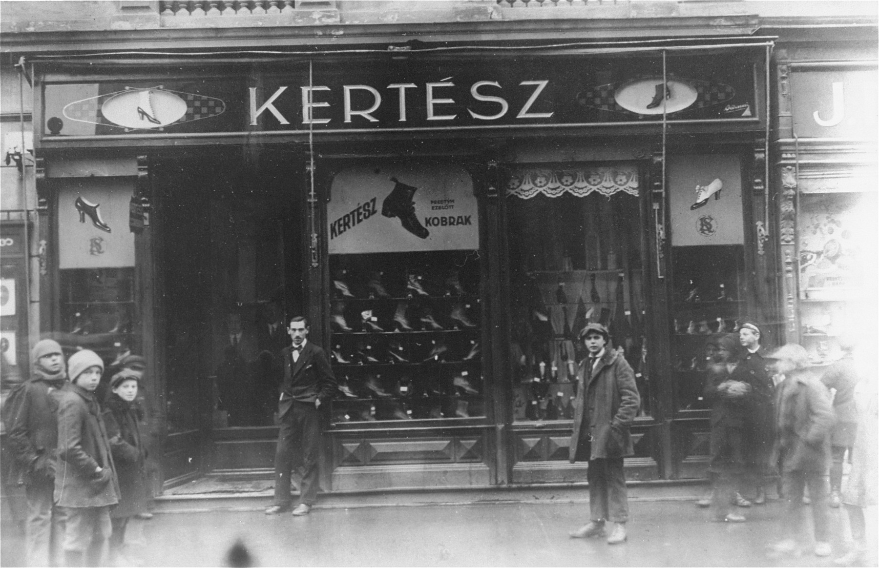 View of the Kertesz shoe store in Kosice, Slovakia, owned by the Jewish businessman, Samuel Kertesz.   Samuel Kertesz, who is the maternal grandfather of Eva (Halmos) Kuhn, perished in Auschwitz in 1944.